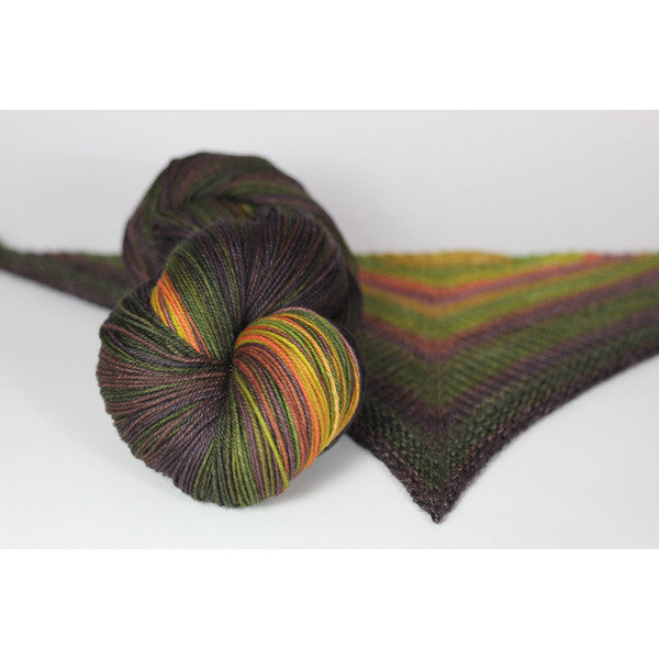 Olive Branch self striping shawl yarn gauge dye works