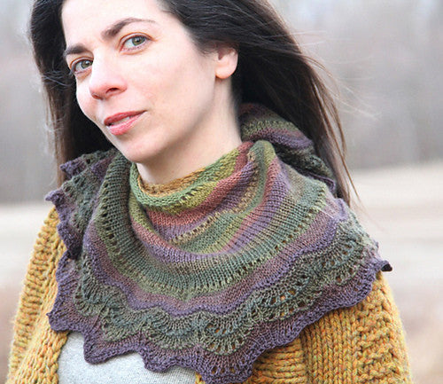 Olive Branch self striping shawl phi for your by Laura nelkin yarn gauge dye works