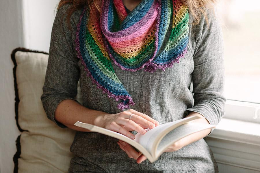 White Light | self-striping shawl and sock knitting wool yarn from gauge dye works