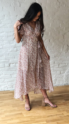 FLORAL CREAM AND MAUVE WRAP DRESS