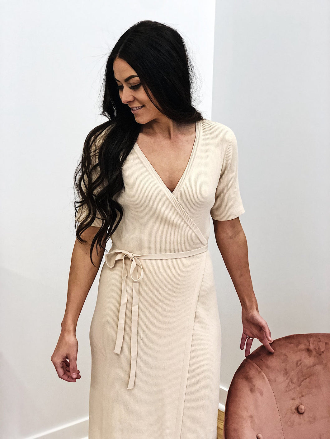 RIBBED RUBY WRAP DRESS-CREAM FINAL SALE