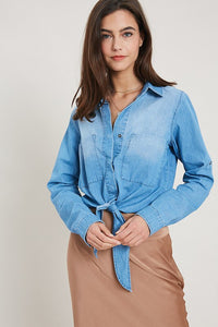 DENIM FRONT TIE SHIRT