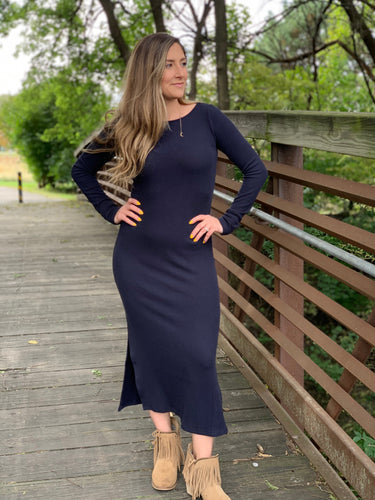 NAVY DEVINE SWEATER DRESS