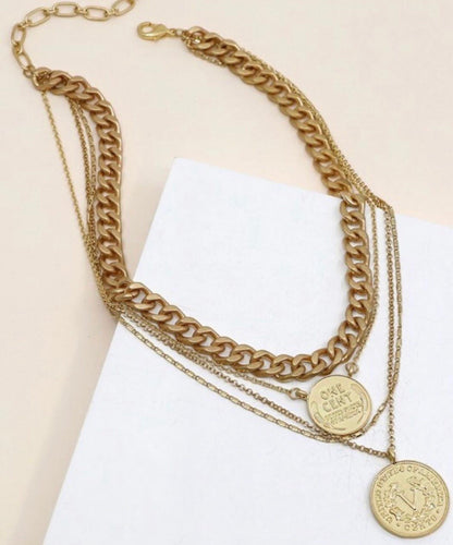 LAYERED CHUNKY COIN NECKLACE