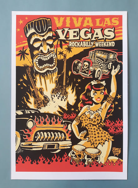 Vince Ray Colour silk screen print Viva Las Vegas posters