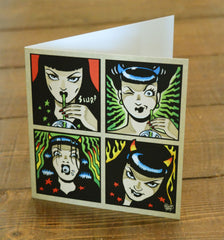 Vince Ray`s Venus and Fuzz greetings card