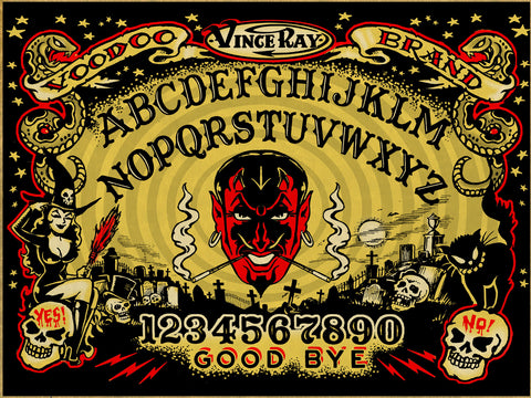 Ouija print on canvas by Vince Ray