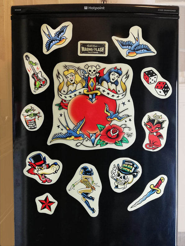Tattoo Flash Fridge Magnets (set of 12)