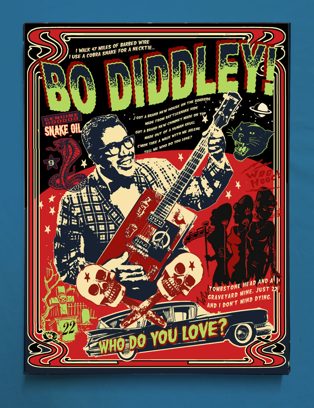 Vince Ray`s tribute to Bo Diddley, Print on Canvas