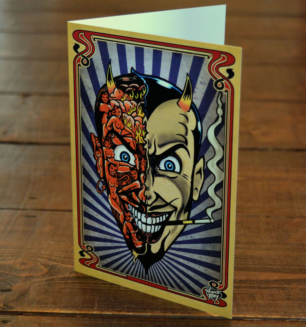 Vince Ray Devil Head greetings card `Where`s My Fucking Present?`