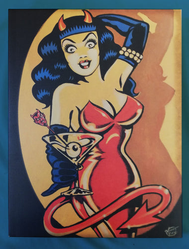 Vince Ray Devil Girl art print on canvas lowbrow