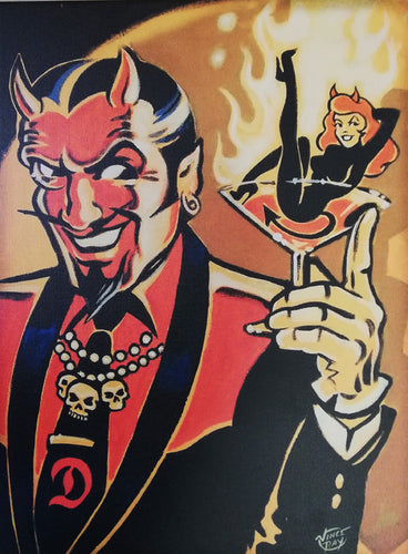 Vince Ray Devil Guy lowbrow art print on canvas