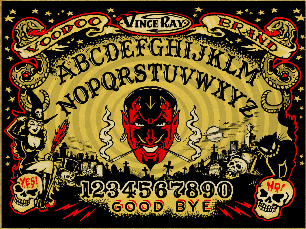 Vince Ray Ouija board print on glossy card
