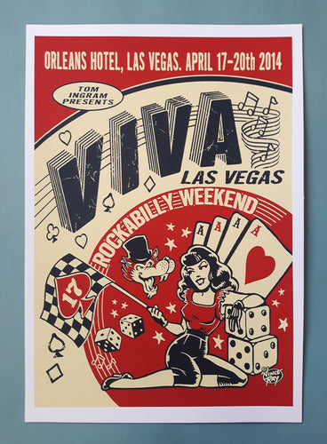 Vince Ray signed silk screen print Viva Las Vegas posters
