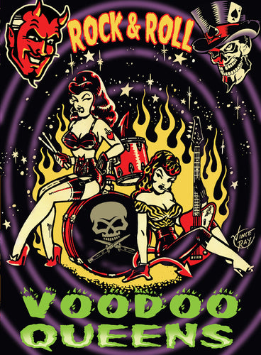 Vince Ray Voodoo Queens stretched canvas lowbrow art print