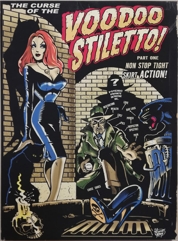 Vince Ray Voodoo Stiletto art lowbrow stretched canvas print