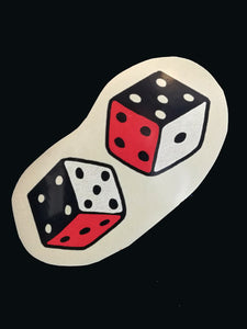 Vince Ray double dice fridge magnet with a high gloss finish