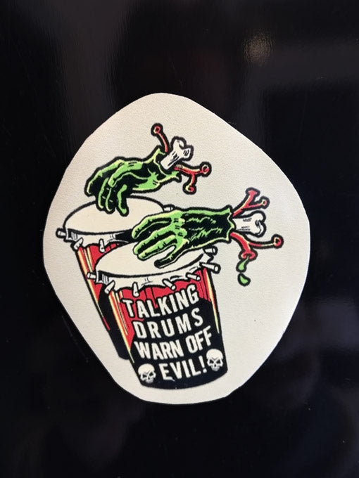 Vince Ray zombie hands drum fridge magnet