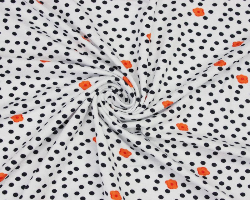 Flower Spot Viscose Jersey - White