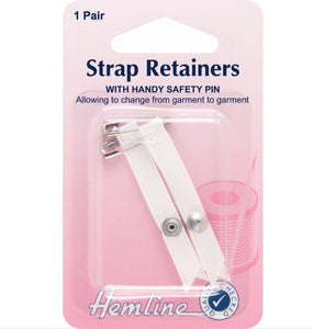 Hemline - Shoulder Strap Retainer with Safety Pin: White