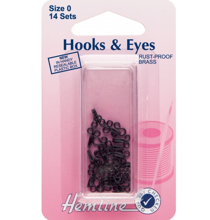 Hemline Hook and Eyes: Black - Size 0