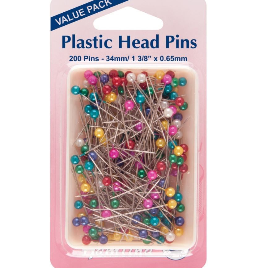 Hemline - Plastic Head Pins: Nickel - 34mm - 200pcs