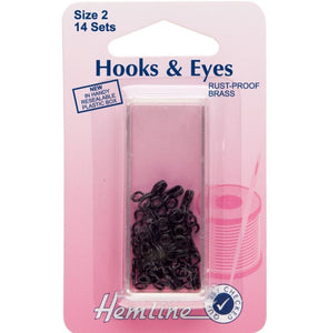 Hemline Hooks and Eyes: Black - Size 2