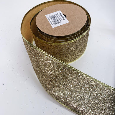63mm Wide Glitter Ribbon - Gold
