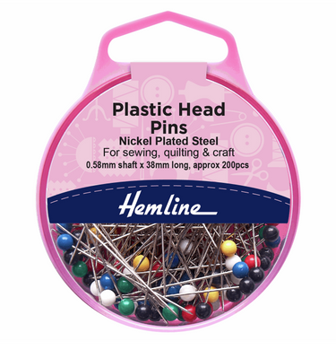 Hemline Plastic Head Pins 34mm - 200pcs