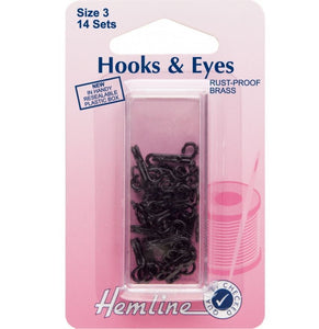 Hemline Hooks and Eyes: Black - Size 3