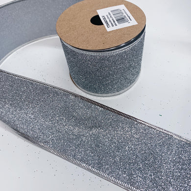 63mm Wide Glitter Ribbon - Silver