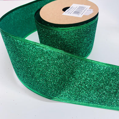63mm Wide Glitter Ribbon - Green