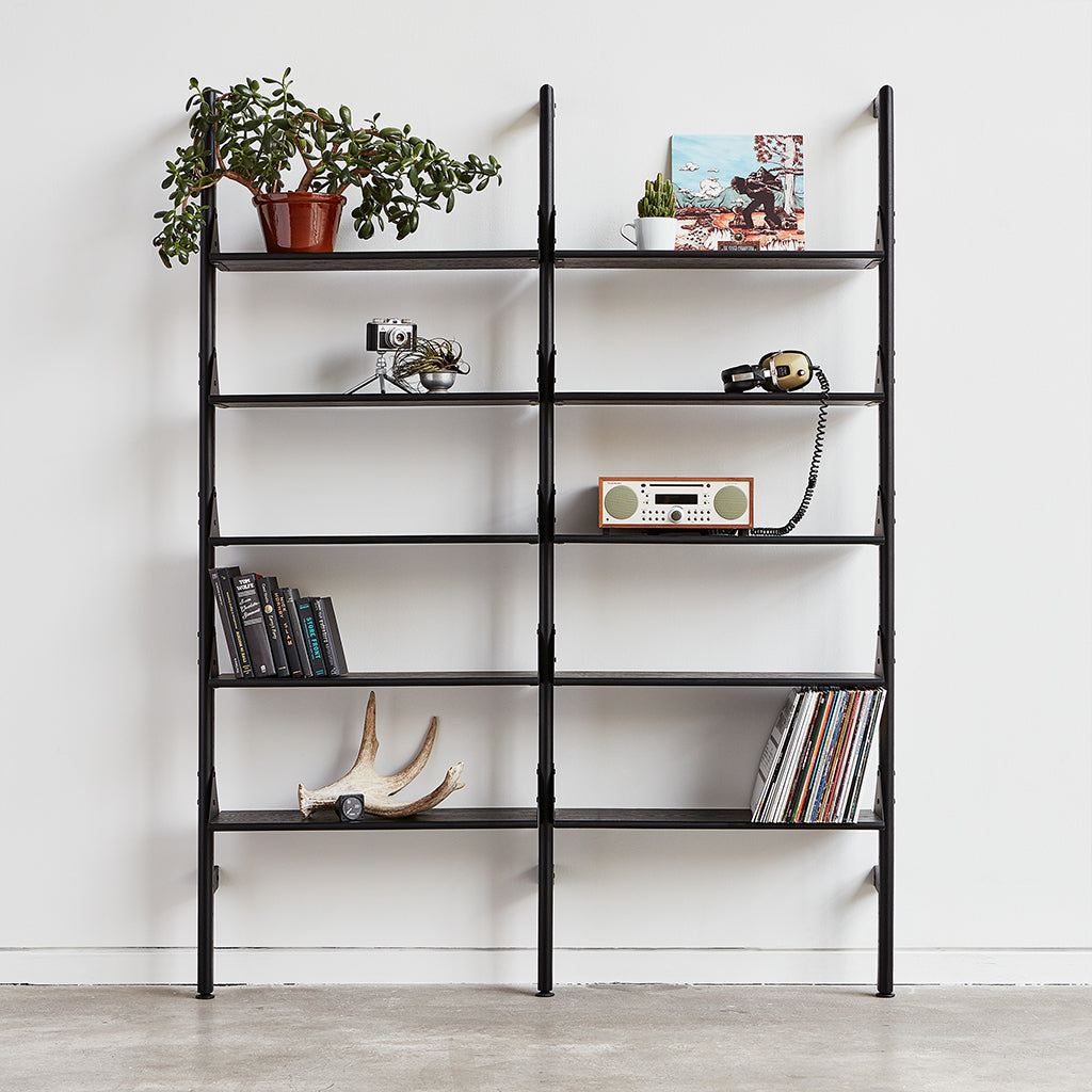 black uprights black brackets black shelves