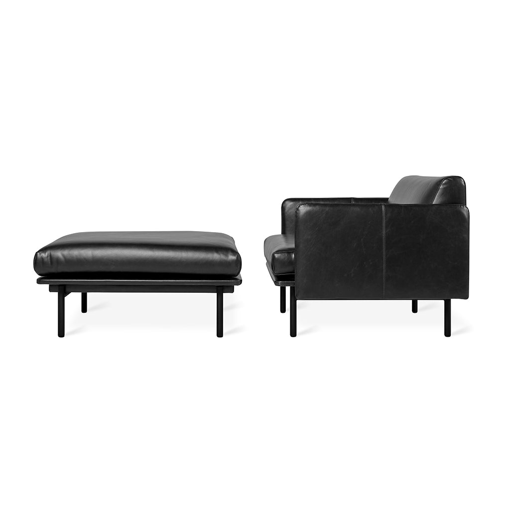 Foundry Ottoman | Saddle Black Leather