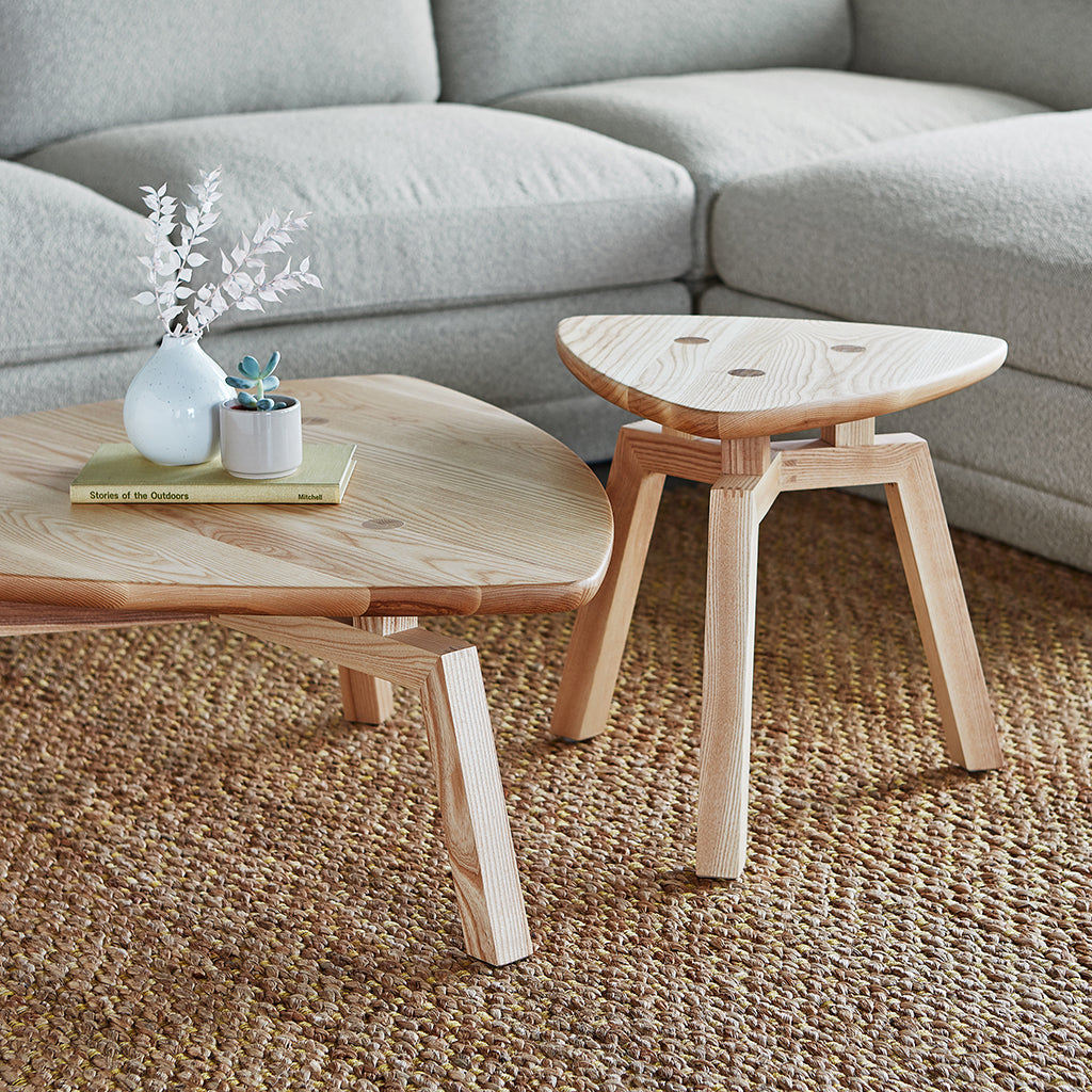 Solana Triangular Coffee End Table | Natural Ash