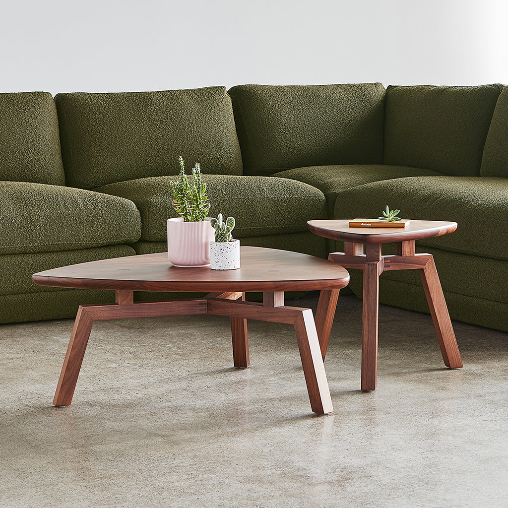 Solana Triangular Coffee End Table | Walnut