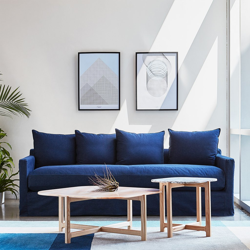 Carmel Sofa | Washed Denim Indigo