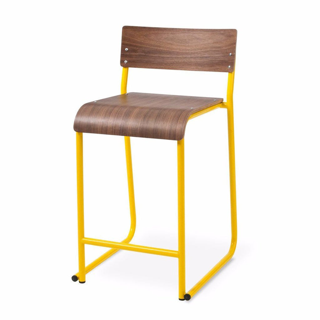 Church Stool | Walnut & Canary Yellow