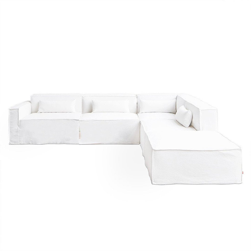 Mix Modular Slipcover | Washed Denim White
