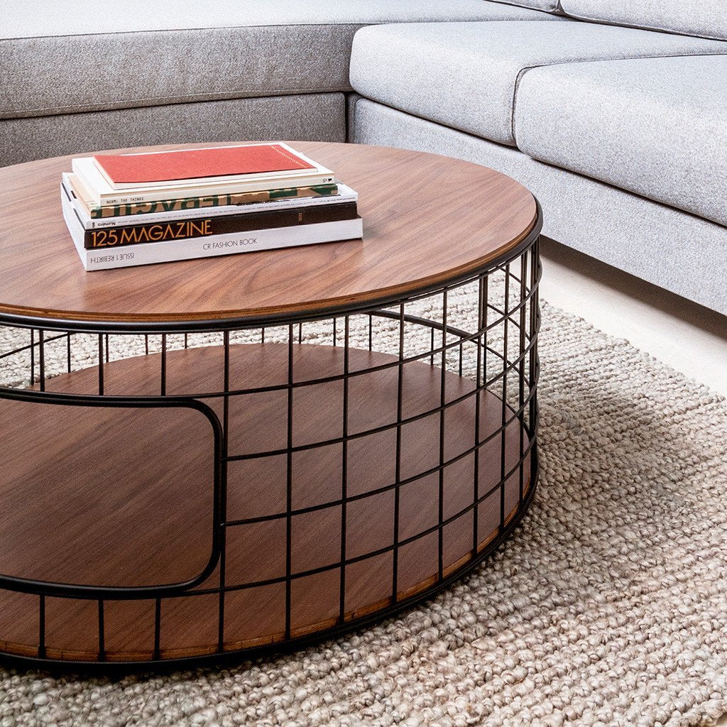 Wireframe Coffee Table | Black & Walnut