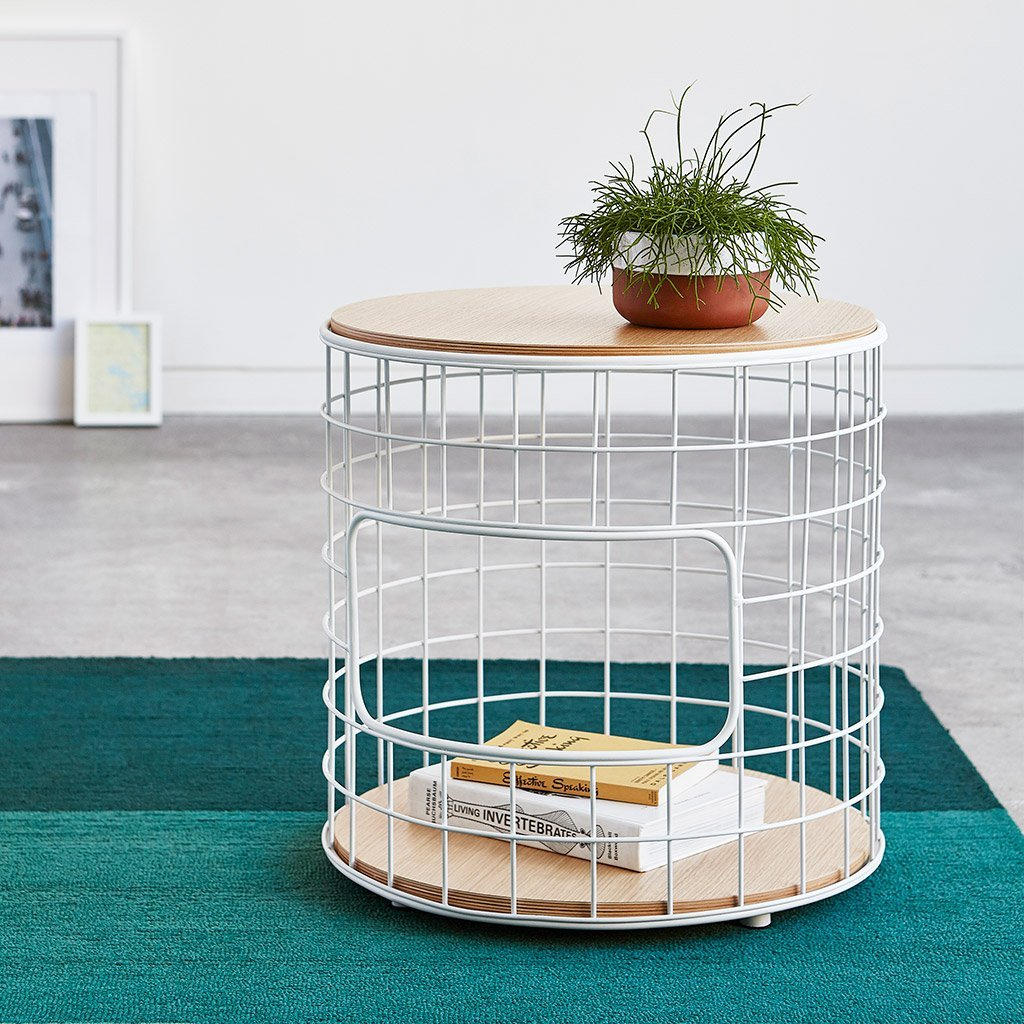 Wireframe End Table | White & Natural Oak