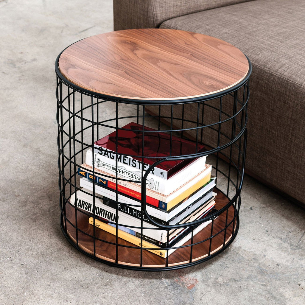 Wireframe End Table | Black & Walnut