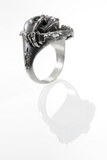 'Ripper' ring - Rhodium plated