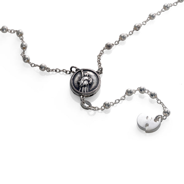 'Wu' rosary - Rhodium plated