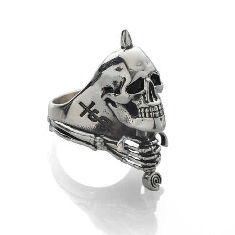 'Skull And Sword' ring - Rhodium plated