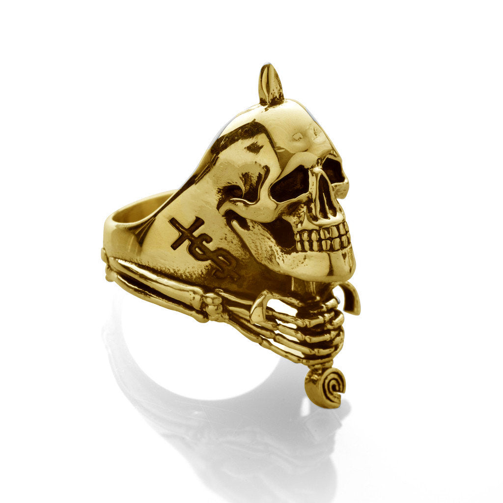 Skull And Sword Ring Gold Plated El Se 241 Or