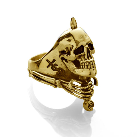 'Skull And Sword' ring - Gold plated
