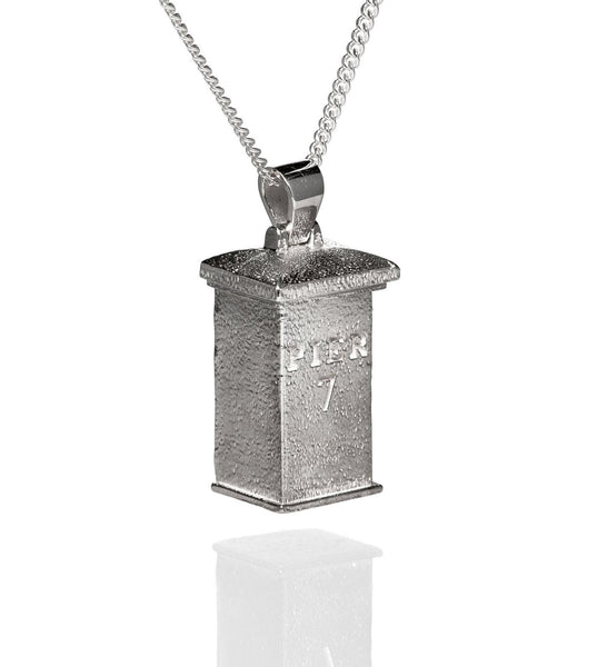 Pier 7 'Destination Block' Rhodium Plated