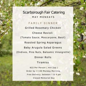May Monday Dinner Menu - May 2021