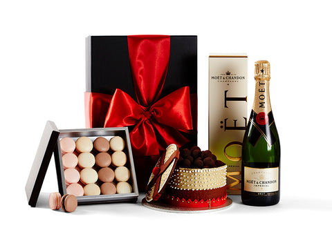 Cake, Macaroons and Moet French Champagne Gift Hamper by Glorieux Cadeau